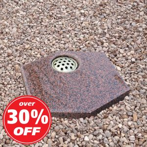 Red granite hexagon plaque