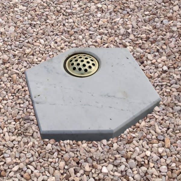 White marble hexagon plaque