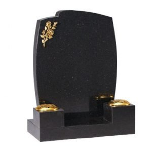 Star Galaxy granite with a engraved bronze rose
