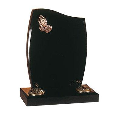 Black granite memorial with praying hands ornamentation