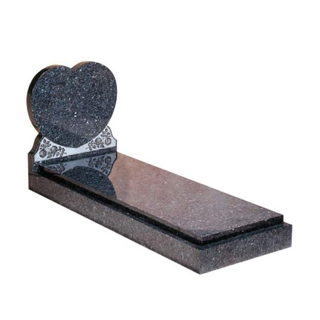 Blue Pearl granite with engraved rose ornament and cover slab