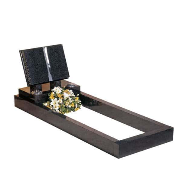 Dark Grey granite with book memorial on top of full length kerbs