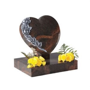 Teak granite heart with and carved roses