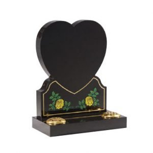 Black granite with etched hand painted heart with roses design