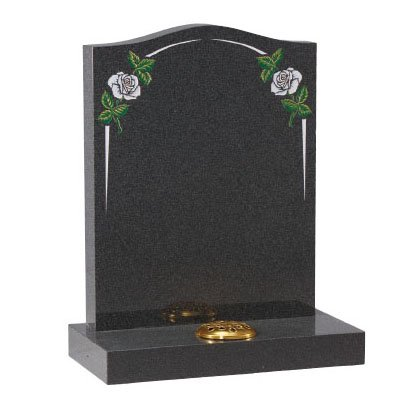 Dark Grey granite with white rose and elegant pin line