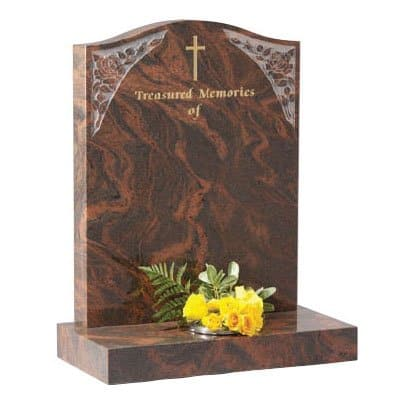 Twilight Red granite with etched roses
