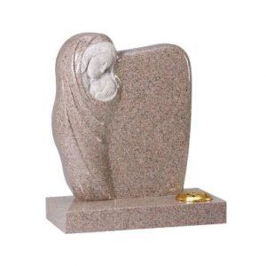 Carnation granite with hand carved 'Madonna and Child' ornament