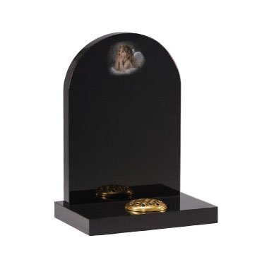 Black granite with 'cherub' hand shadow punched ornament