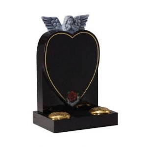 Black granite with hand carved angel
