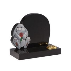 Black granite with 'rabbit and rose' ornament