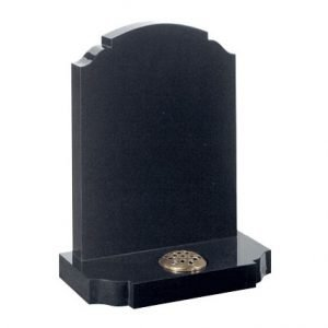 Black granite with traditional churchyard shaped headstone