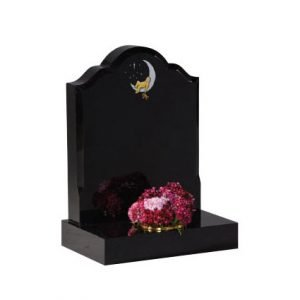 Black granite with hand painted 'baby in moon' design with moulded edge
