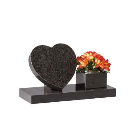 Dark grey granite heart on riser with side vase