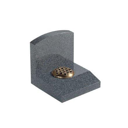 Dark Grey granite with headstone that sits behind desk