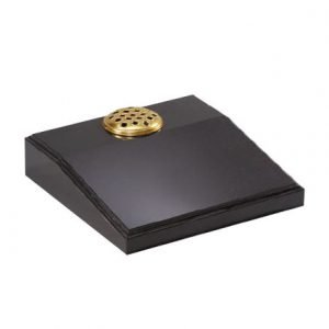 Black granite desk with moulded edge