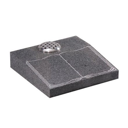 Light Grey granite desk with etched and highlighted book design