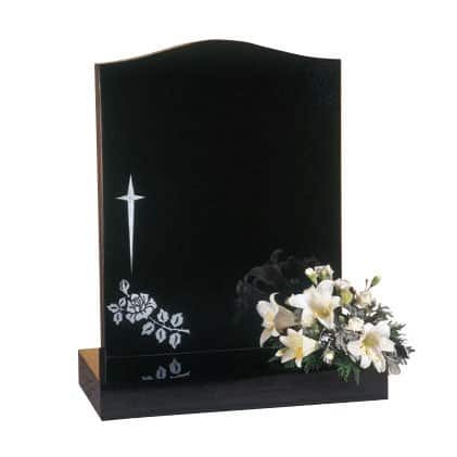 Black granite with star cross and rose design