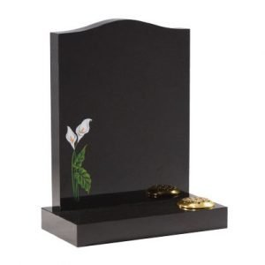 Black granite with etched and painted lily