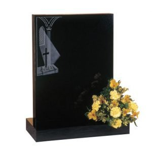 Black granite with etched church window design and flat top