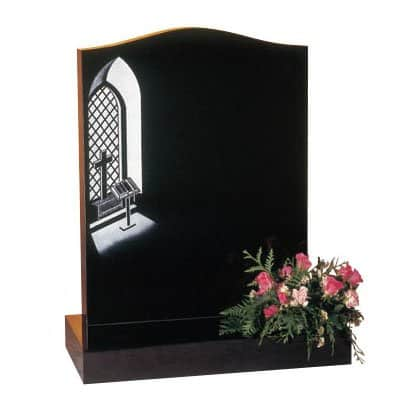Black granite with etched church window design
