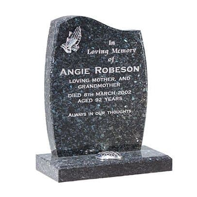 Blue pearl granite with chamfered headstone