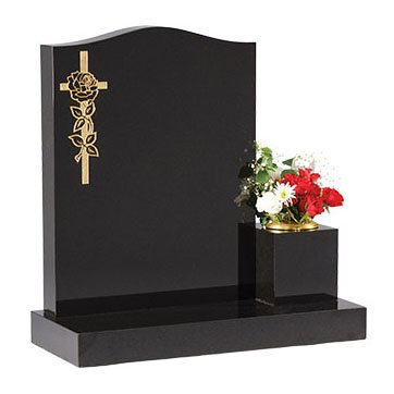 Black granite with gilded cross and rose design
