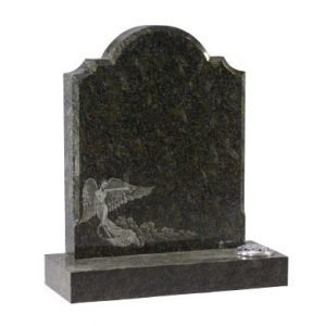 Emerald Pearl granite with detailed etched angel design