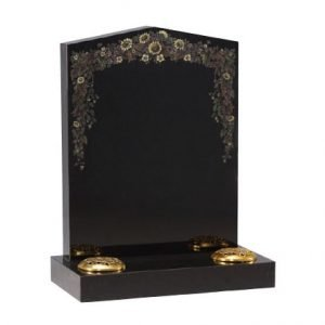 Black granite with etched and painted wild flower design