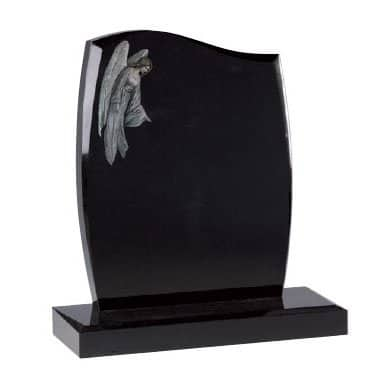 Black granite with etched and painted overlooking angel