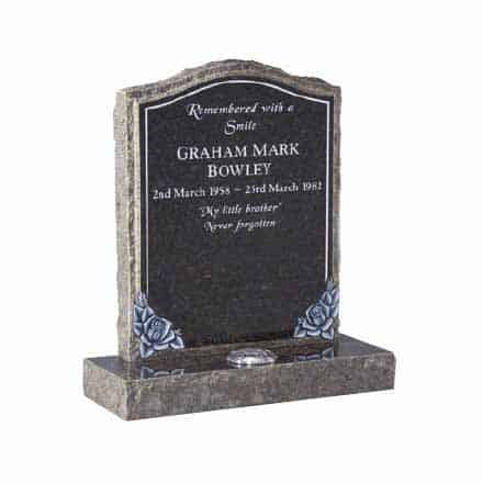 Blue Pearl granite with hand carved roses and pitched edges