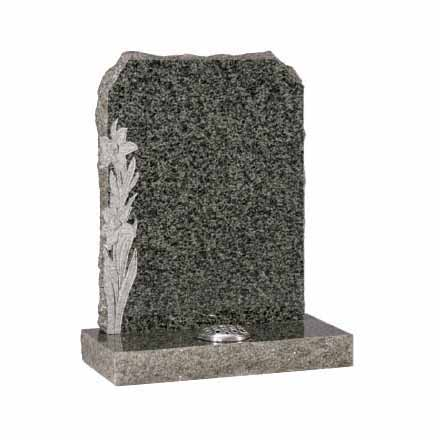 Ocean Green granite with carved daffodil design and pitched sides