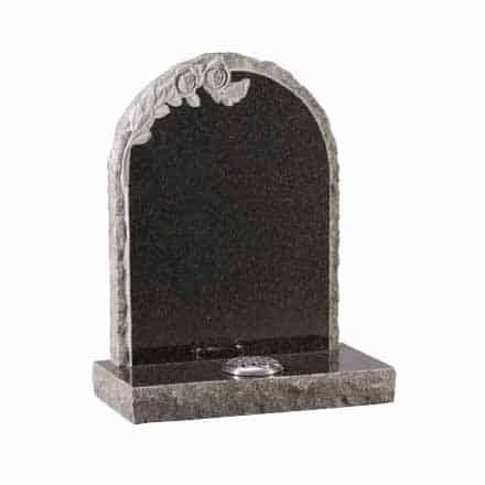 Dark Grey granite with carved roses and pitched edges