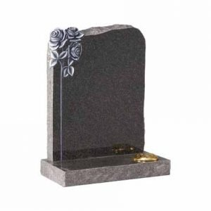 Dark Grey granite with carved and highlighted roses and pitched edges