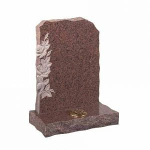 Balmoral Red granite with carved roses on left