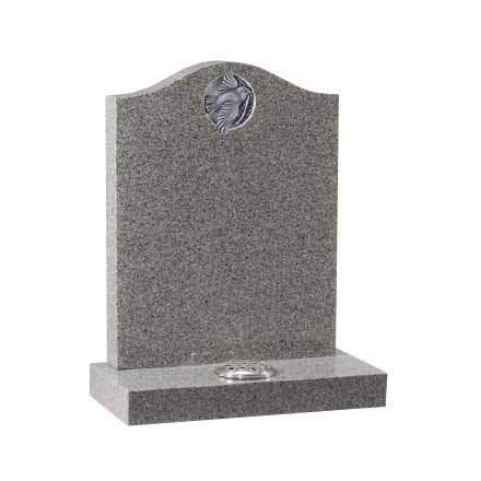 Grey Granite Ogee Memorial with Carved Dove