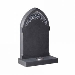 Grey Granite Gothic Headstone with Carved Roses