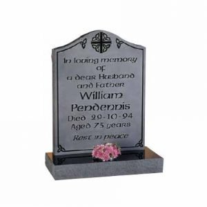 Black Granite Ogee Headstone with Engraved Background