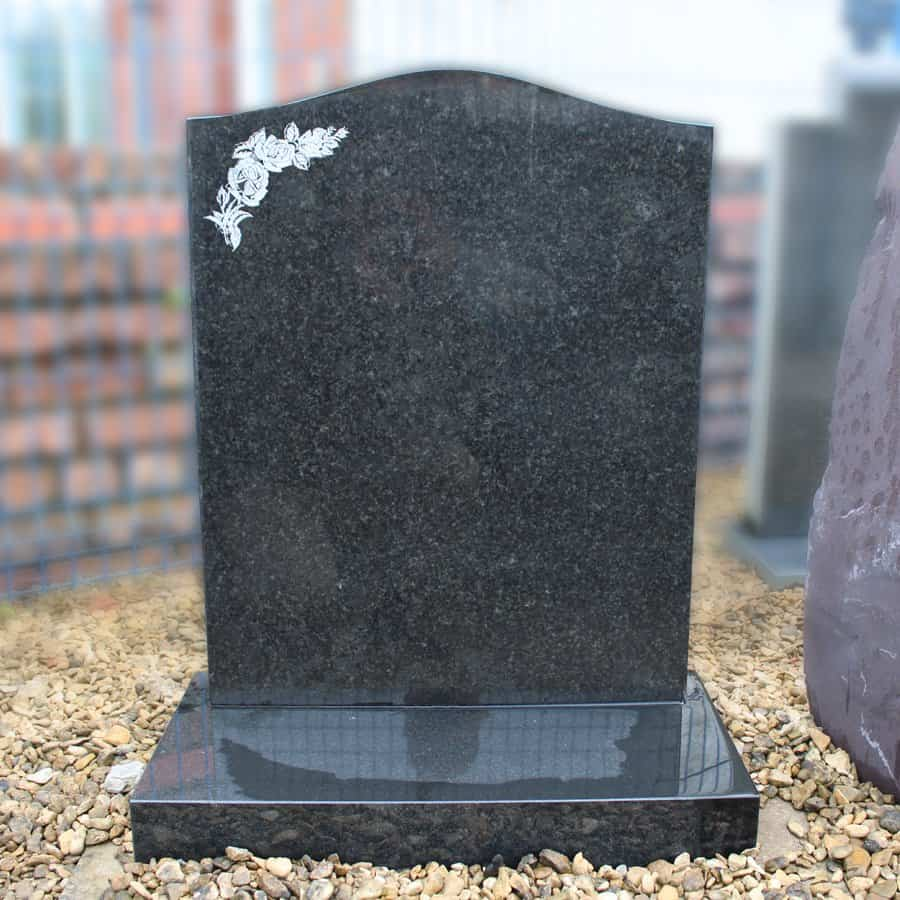 Black Ogee Headstone with Etched Rose Design