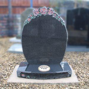 Black Granite Oval Lawn Memorial with Rose Design