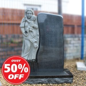 Polished Granite Lawn Memorial with Virgin Mary Carving