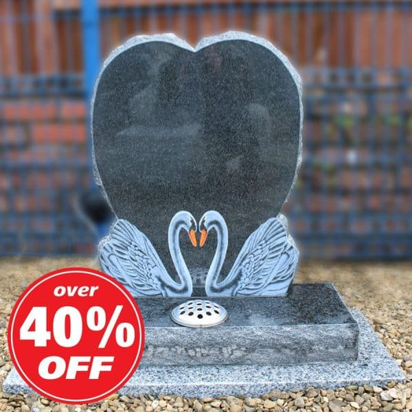 Heart Headstone with Etched Swan Design