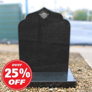 Black Granite Polished Minaret Headstone