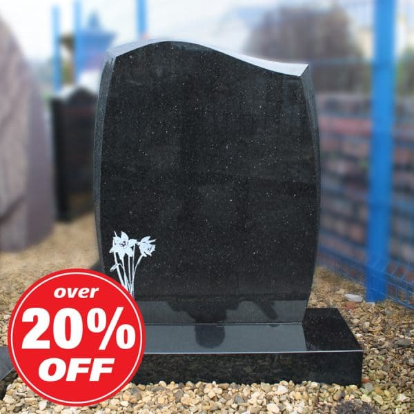 Black Granite Lawn Memorial with Etched Daffodil