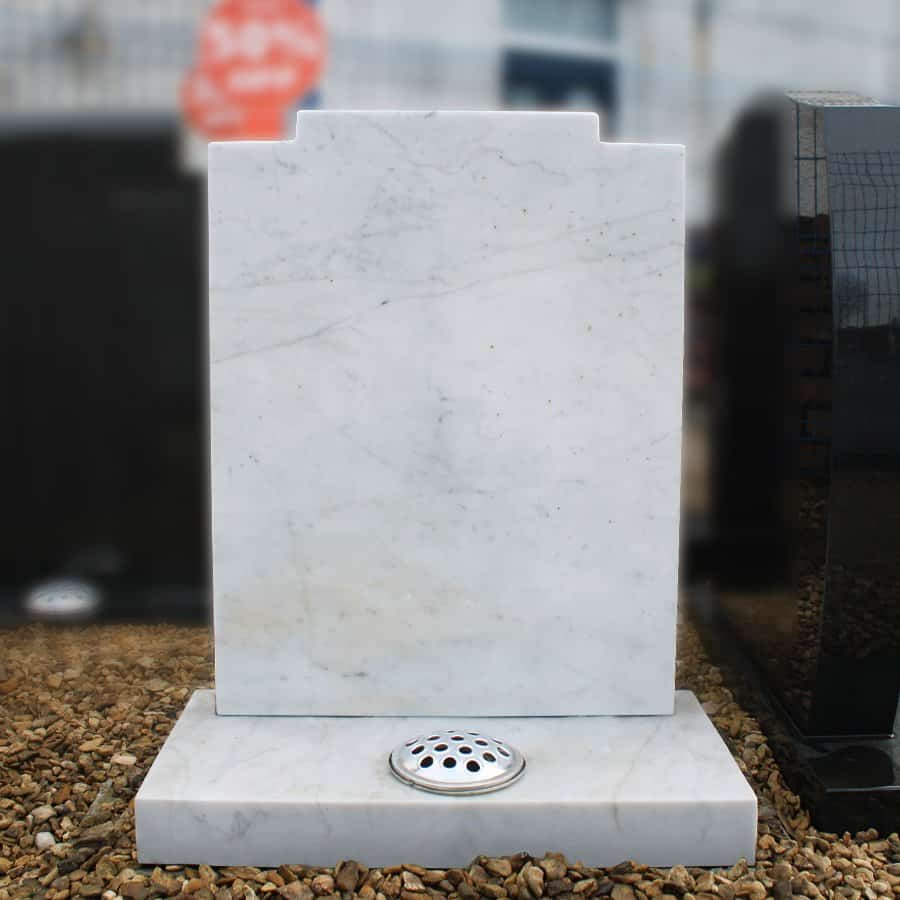 White Marble Headstone with Flower Vase