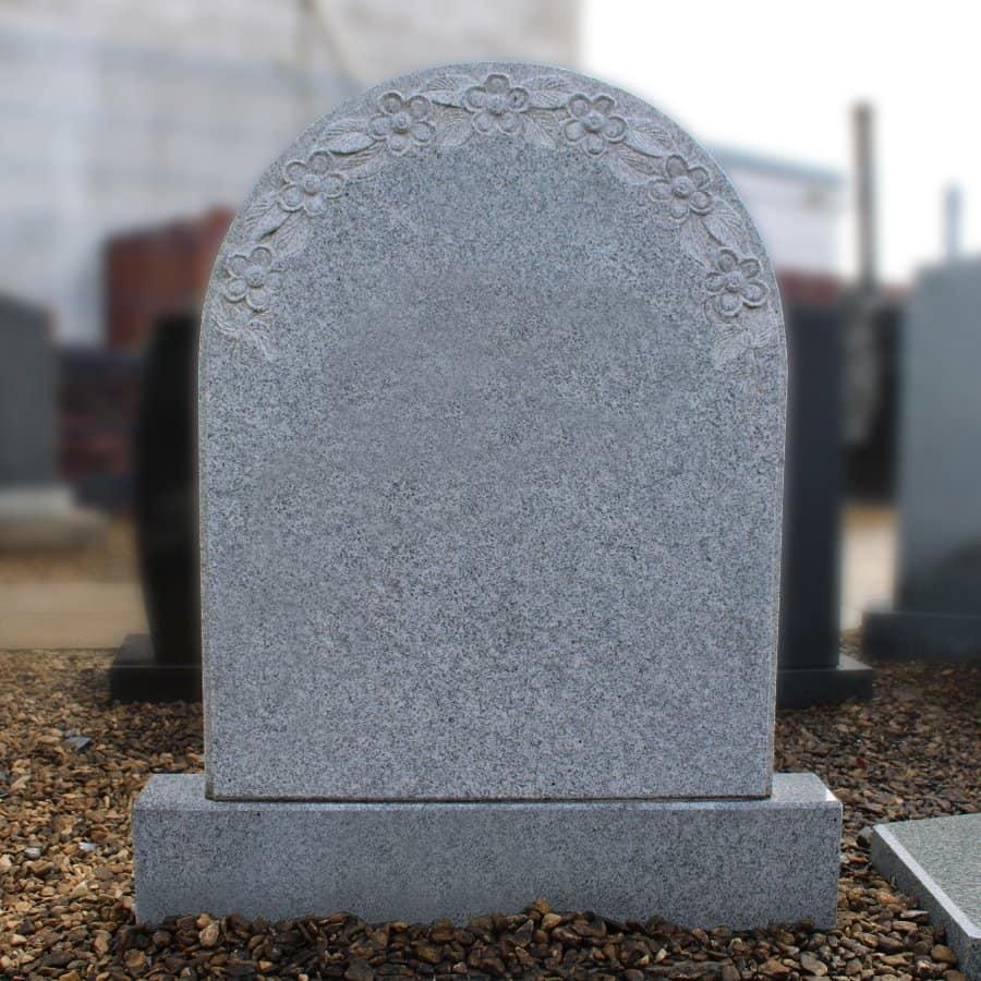 Light Grey Granite Arch Top Headstone