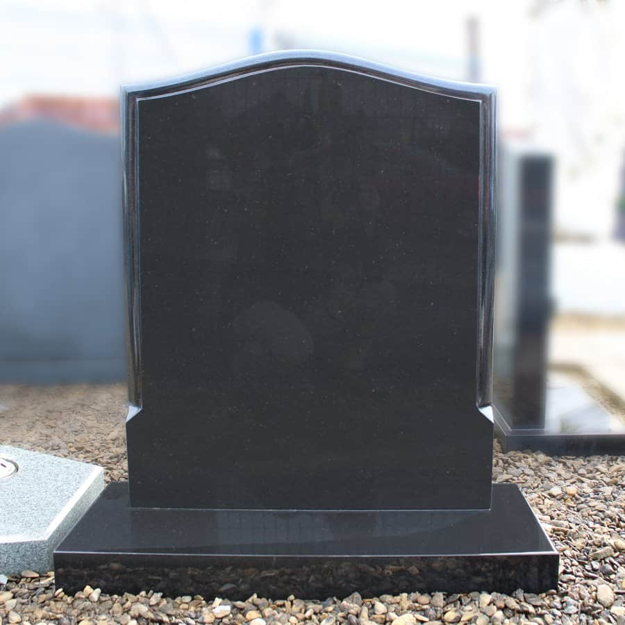 Black Ogee Lawn Memorial with Moulded Border