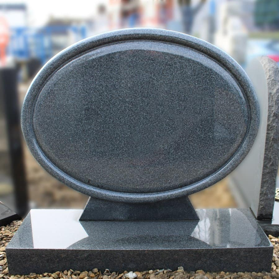 Colombo Black Granite Oval Lawn Memorial