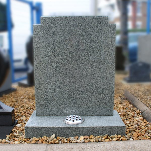 Light Grey Lawn Memorial with Flower Container