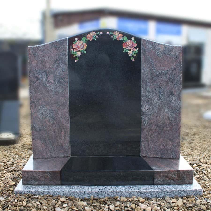 Black and Pink Granite Lawn Memorial with Rose Design