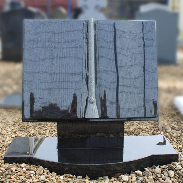 Black Granite Open Book Memorial with Tassel